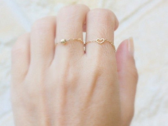 Tiny Heart Ring 14k gold filled chain with a Tiny gold