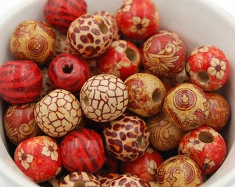 16mm Jungle Print Wood Beads -Set of 50