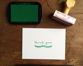 Thank You Stamp with Hand Drawn Ferns - Rubber Stamp - Wood Handle - Botanical - Nature - Woodsy - Floral