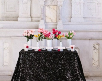 Black SequinTablecloths, 1 DAY FREESHIP,  Black Tablecloths, Glitz, Overlays, Tablecloths.  Wedding, Gatsby, Glam