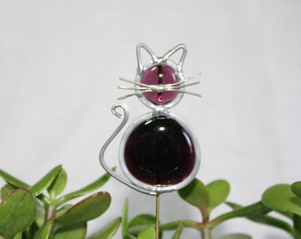 Stained Glass Royal Purple Cat Plant Stake, Garden Art