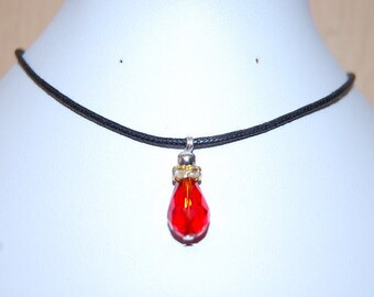 Red Glass Crystal Necklace,Red Leather Chocker Necklace,Choker Necklace,Girl,Woman,Chic,Cord Necklace,Red Choker Necklace,Lobster Lock