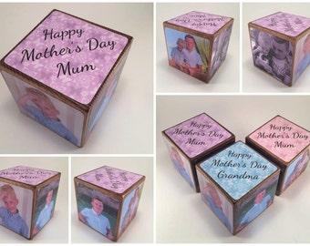 Photo Cube, Photo Block - Mum, Mam, Mummy, Mammy, Mother, Mother's Day Gift, photo gift, photo gift idea, wooden photo block