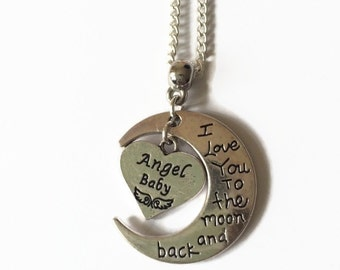 Moon and Back necklace, Angel Baby necklace, Remembrance necklace, memorial necklace, SIDS, Moon crescent, charm necklace, Infant Loss
