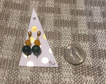 Green and yellow fall inspired earrings