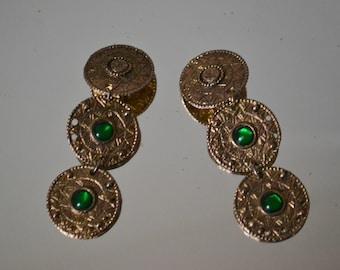 1950's/1960's Gold Tone Emerald Jewel Clip On Earrings