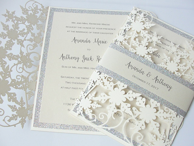Lasercut winter wedding invitation crystal glitz deposit zoom junglespirit Images