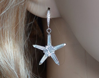 Handmade Cubic Zirconia CZ Starfish Dangle Earrings, Bridal, Beach or Destination Wedding (Sparkle-2286)