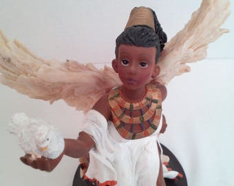 Vintage Ebony Heritage Angel of Peace / African American Angel 8.5 Inches Tall