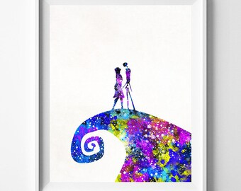 The Nightmare Before Christmas, Fathers Day Gifts, Jack and Sally, Poster, Tim Burton, Watercolor Painting, Watercolor Art, Type 1, PRINT