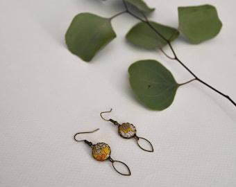 liberty flower fabric, nickel free brass dangling earrings