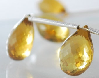 Beer Quartz Pears Faceted AAA Genuine Gemstone Beads Luxe Briolette Golden Honey 12-12.5mm 7 inch strand