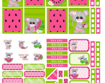 Watermelon Mouse planner sticker kit