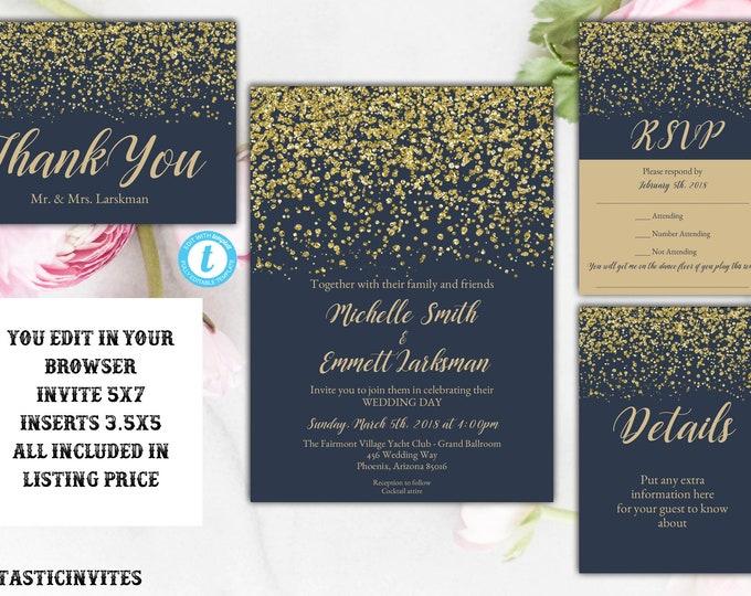 Navy Blue and Gold Wedding Invitation, Wedding Invitation Template, Elegant Wedding Invitation, Wedding Template Set, YOU EDIT, Navy, Gold