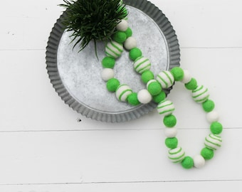 "Handmade 32"" St. Patrick's Day Wool Felt Ball Garland"
