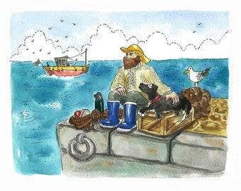 Fisherman's Friend, limited edition Irish art print - archival quality, dog and fisherman, gift, wall art