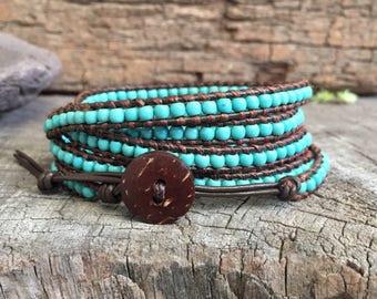 Turquoise Leather Wrap Boho Bracelet