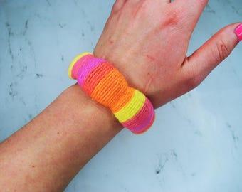 Yarn Wrapped Bangle Bracelet | The Sunrise Bangle | Supreme | Pink & Yellow | Handmade