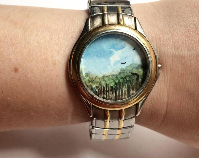 Silhouettes / tiny original watrrcolor + ink painting framed in timeless watch / tiny landscape wearable art / tree art