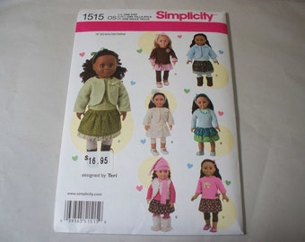 """New Simplicity 18"""" Doll Clothing Pattern, 1515  (Free US Shipping)"""