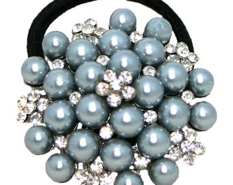 Gray Pearl and Crystal Ponytail Holder, Glass Pearl and Crystal Ponytail Holder,