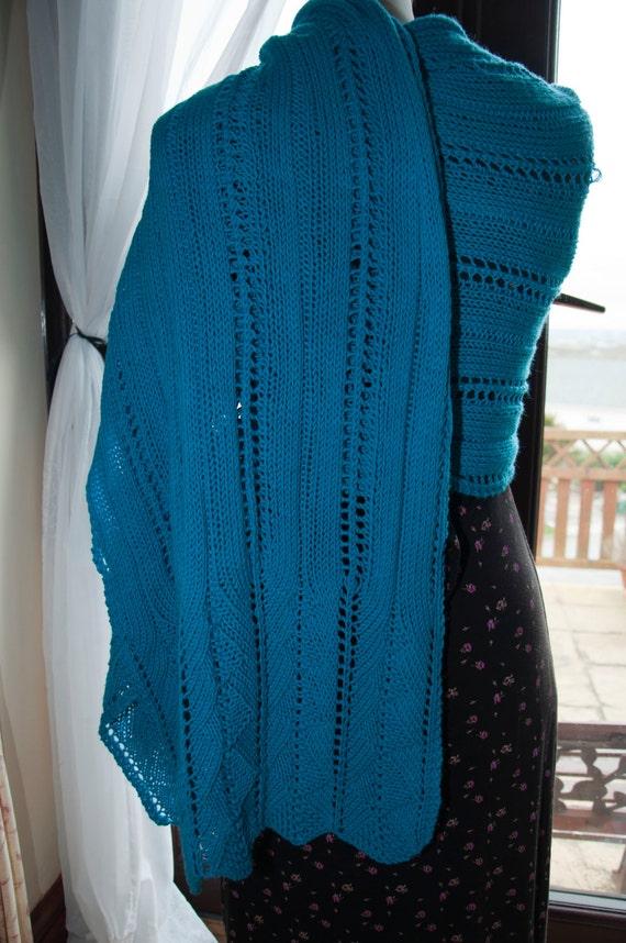 Handknitted Shawl/Wrap in Turquoise Merino Wool