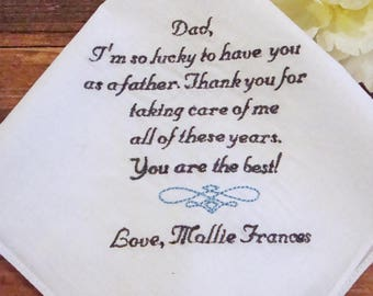 Personalized Father of the Bride Handkerchief, Lucky To Have You As A Father Wedding Day Keepsake - Thread Born Memories