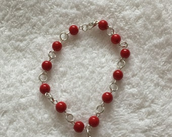 Red coral rosary bracelet