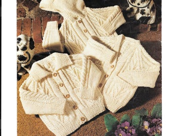 UK vintage knitting pattern for a childs aran cardigan - 20 - 28 inch (approx 6 mths - 8 years). V neck, round neck or with hood. PDF