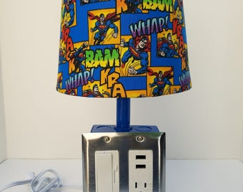 Industrial USB Light, Superman Light, Desk Lamp, Blue, Man Of Steel,