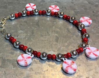 Adult Sized Peppermint Candy Bracelet