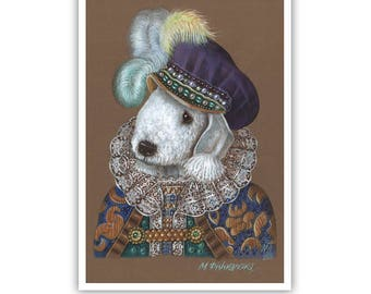 Bedlington Terrier Art Print - Prince - Royal Dog Wall Art - Dogs in Costumes - Amazing Dog Portraits by Maria Pishvanova