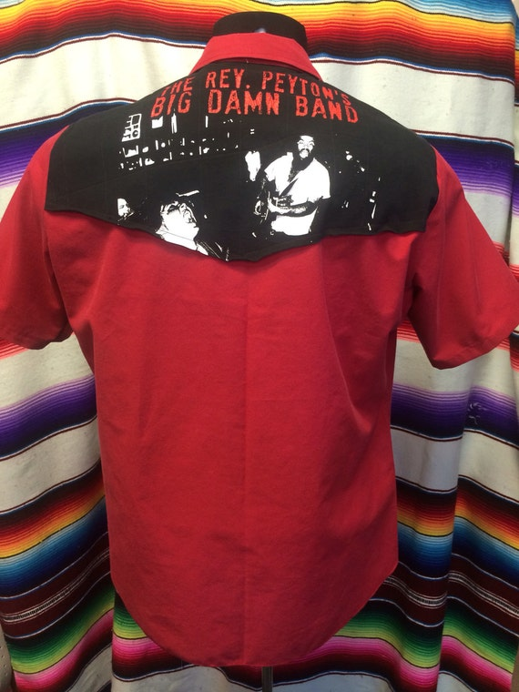 Medium Rev Peyton's Big Damn Band tshirt mens western shirt UvsRkJ4