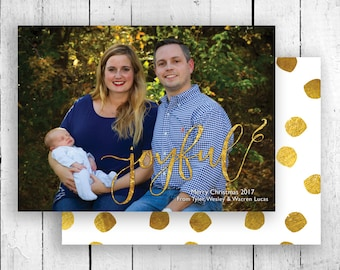 Gold Foil Christmas Card, Christmas Card Template, Joyful Christmas Card, Christmas Card, Holiday Card, Gold Foil