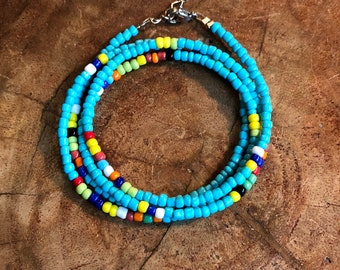 Turquoise and Multi-Color Glass Bead 4 Wrap Bracelet