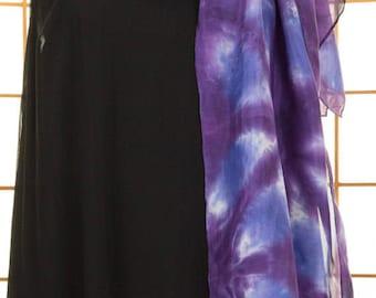 SCARF, Silk, Blue, Violet, Purple, Hand Dyed, High Fashion, Long, Cruise, Travel, READY To SHIP, Shibori, Gift, Gift for Her, Shibori, 717
