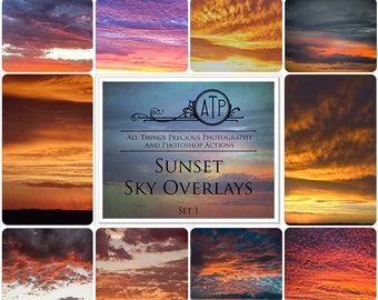 10 High Res Fine Art Digital Sunset Sky Overlays