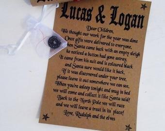Santa's lost button - christmas novelties - personalised santa letter - father christmas button - santa claus button - kids stocking filler