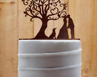 Customized Wedding Cake Topper With Dog, Personalized Cake Topper for Wedding, Custom Personalized Wedding Cake Topper, Couple Cake Topper10