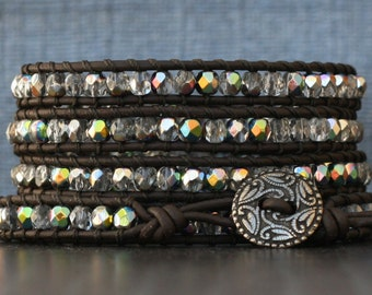 READY TO SHIP black brown leather and iridescent crystal wrap bracelet - dark brown