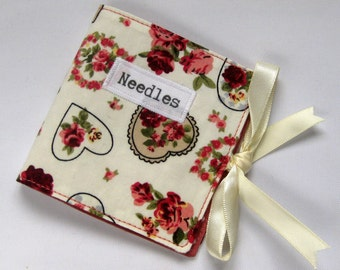 Sewing Needle Case with Hearts and Roses Floral Cotton Print