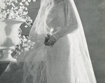 KNITTING PATTERN Vintage Wedding Dress Instant Download PDF