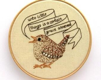 Wren Embroidery Pattern, bird pattern, PDF