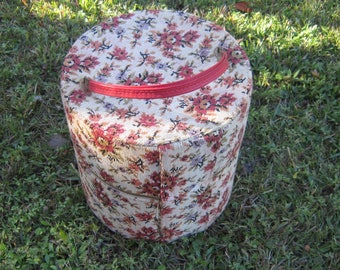 needlepoint hat box wig box large zippered round box vintage