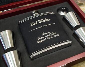Mens Gift Flask, Groomsmen Gift, Gift for Men, Groomsmen Flask, Personalized Flask, Engraved Flask, Groomsman Flask, Black Leather Flask