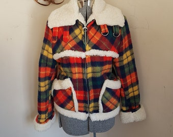 Vintage 1970's Plaid Coat With Faux Lamb