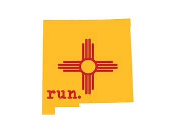 Run NM State Flag Outline