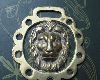 Vintage or Antique Lion Head, Horse Brass - Strength & Courage - Folk Magic, British, Pagan - Rare
