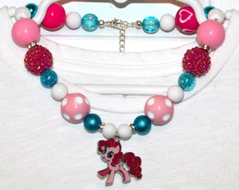 Girls My Little Pony Pinkie Pie Inspired Necklace - Pinkie Pie Enamel