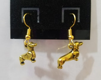 Gold Dachshund Weiner Dog Fish Hook Earrings